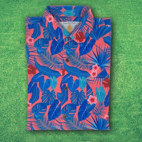 Super Stretch - Coral Palms Hawaiian Shirt