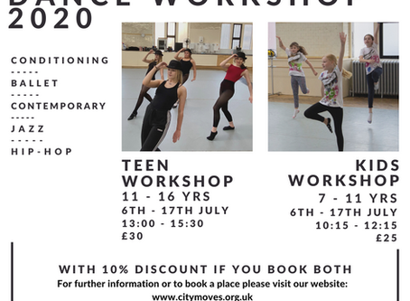 Virtual Summer Dance Workshops in July 2020 for teens and youth.