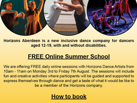 Free online summer school - Horizons Aberdeen Inclusive Dance Company