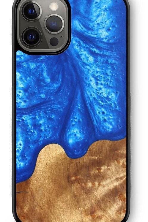 Slim Resin & Wood Phone Case - Diver's Blue