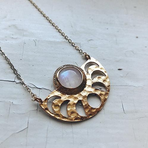 Moon Goddess Necklace - Gold Moon Phases Rainbow Moonstone Pendant