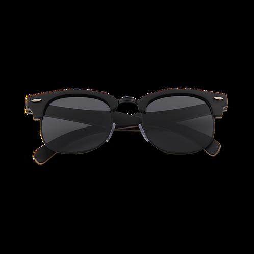 Real Ebony 1/2 Wood Browline Style RetroShade Sunglasses by WUDN