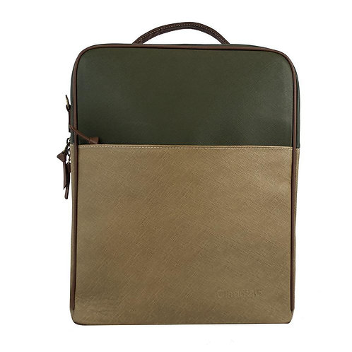 Augusta Tan + Olive Leather Backpack