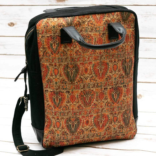 Printed Burnt Orange Fabric Backpack