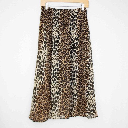 Animal Print Flare Midi Skirt