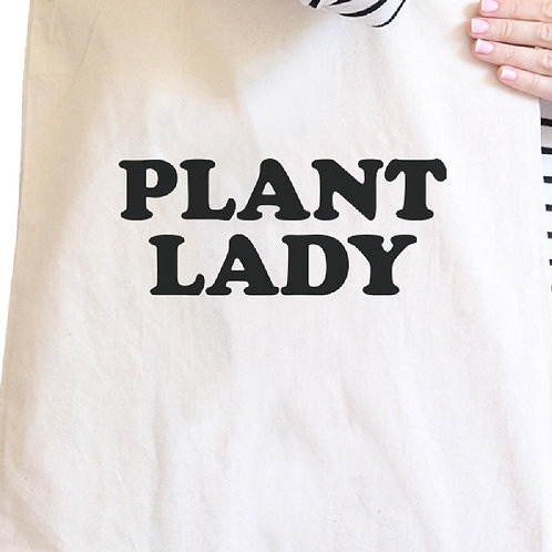 """Plant Lady"" Natural Reusable Tote Bag"