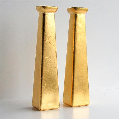 GILT Set of 2 Bud Vases