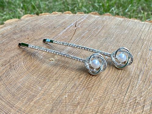 Linked Circle + Pearl Hair Pins (Set of 2 - Silver)