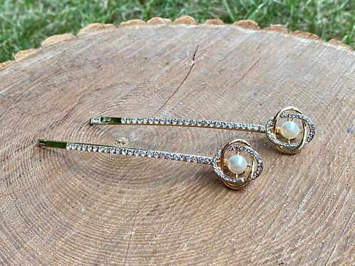 Linked Circle + Pearl Hair Pins (Set of 2 - Gold)