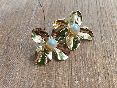 Gold + Pearl Floral Earrings