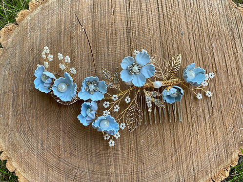 Something Blue Floral Comb