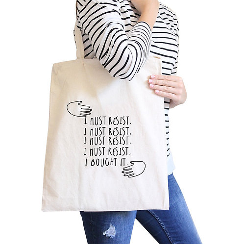 """Must Resist"" Natural Reusable Tote Bag"