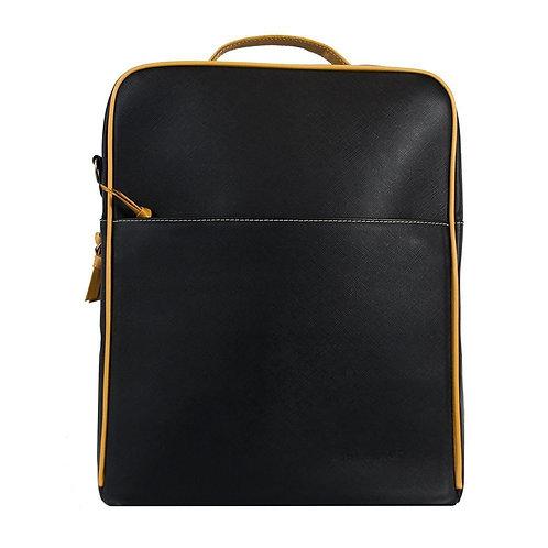 Augusta Black + Goldenrod Leather Backpack