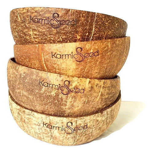 Handmade Coconut Bowls (Set of 4) by Karmic Seed