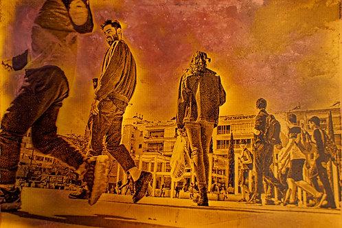 Tel aviv's movement. copper etching. 10/7 cm