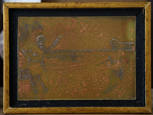 Dancing at the sea. copper etching with nickel plating. 7/10 cm