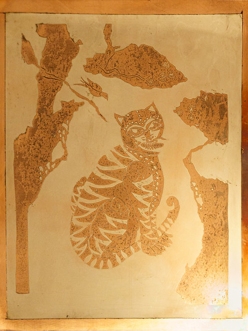 The Tiger & The Magpie. Copper etching with mirror silver plating. 25/35cm