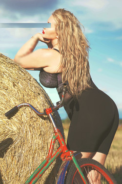 sexy blonde bicycle