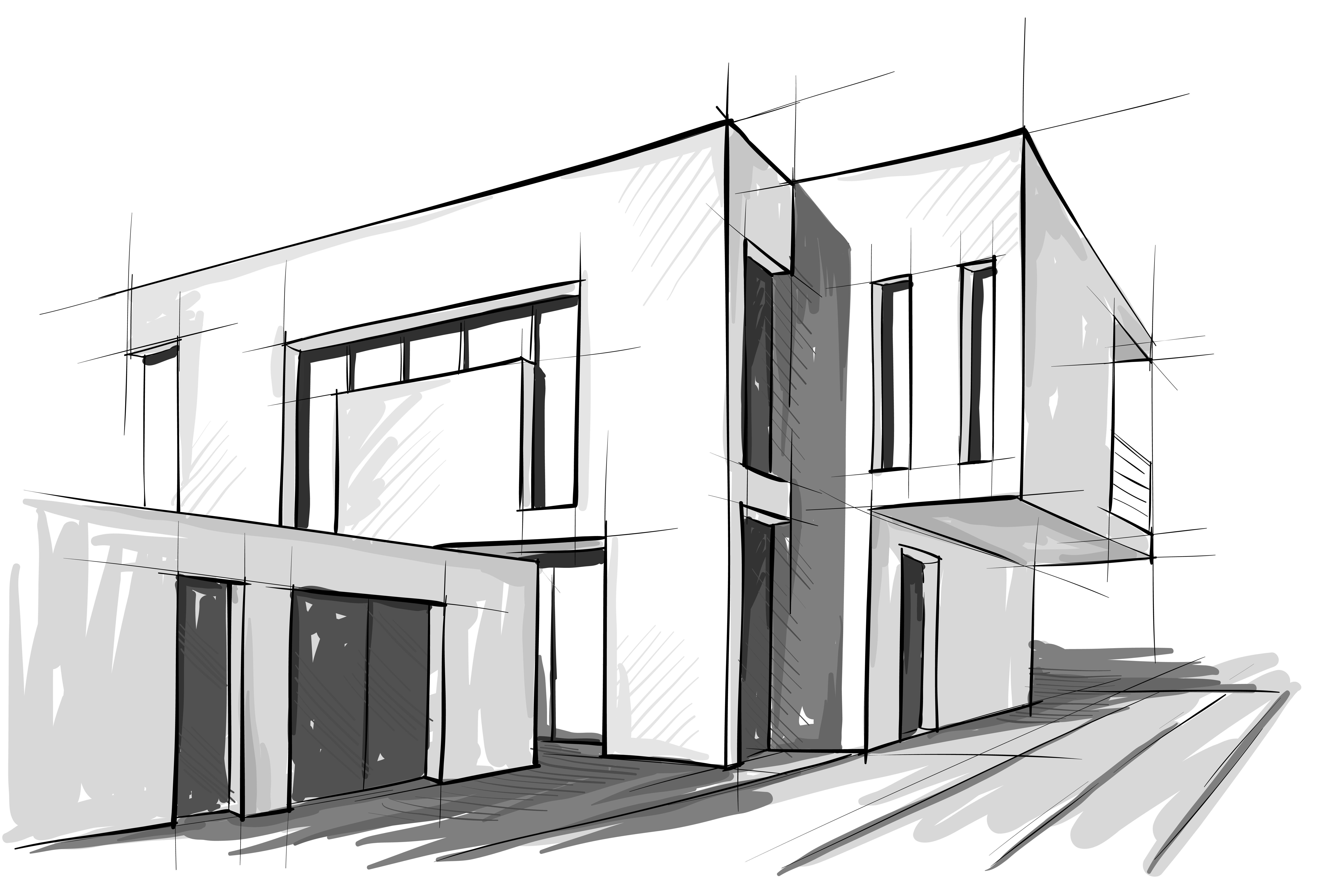 Buying a modern home in the ast bay modern house drawing sketch