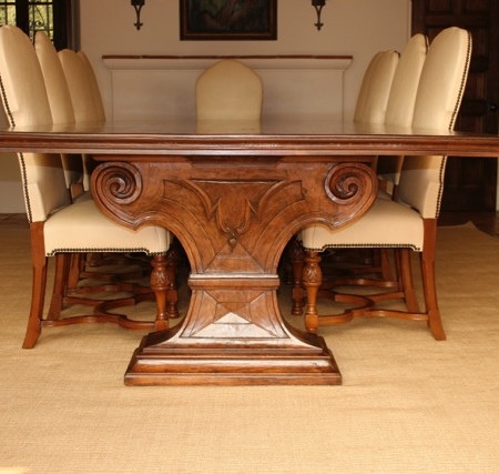 Hand-Carved Walnut Table