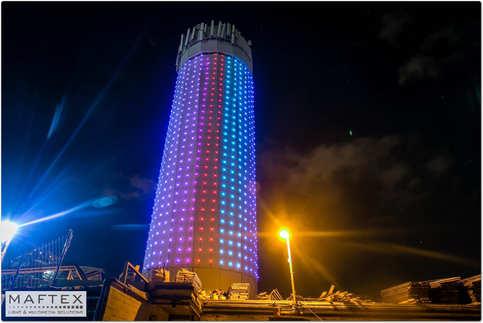 colorful tower lighting