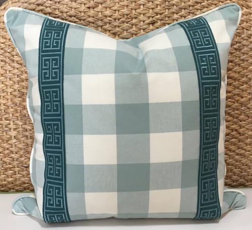 Blue Plaid Pillow Greek Key Trim Decor This Modern And Is The Perfect Addition To Any Home