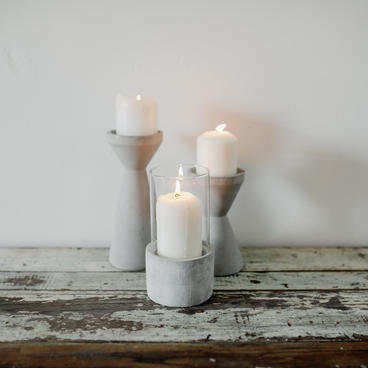 Concrete and glass candle holders