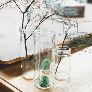 Cylindar glass jars