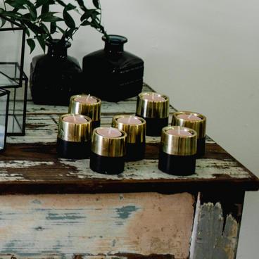 Black and gold votives