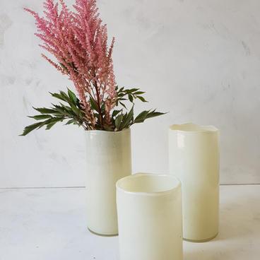 Cream glass cylindar vase