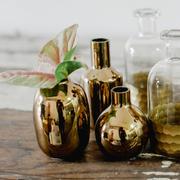 Gold round bud vases