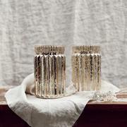 Gold glitter rippled vase