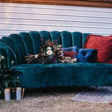 Velvet emerald love seat