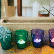 Coloured cut glass votives