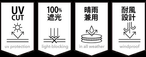 UVカット 100%遮光 晴雨兼用 耐風