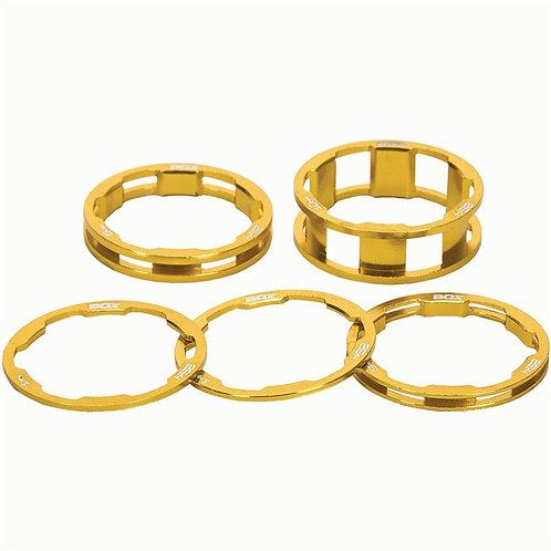 """Box One stem spacer Kit X 10, 5, 3,1(2pcs)mm Gold - Maat : 1"""""""