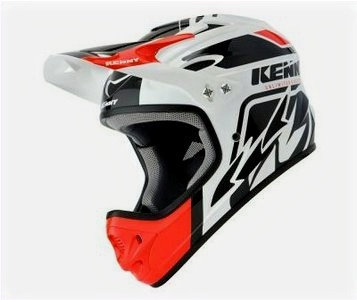 Helmet Downhill White Black Red