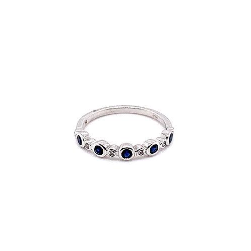 Sapphire and Diamond Half Eternity Bezel Ring