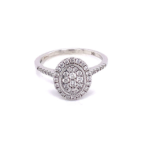Oval Halo Cluster Diamond Ring