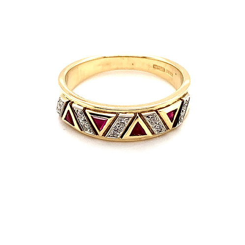 Ruby and Diamond Dress ring in 9ct Gold