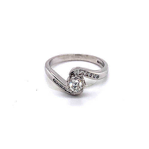 Crossover Diamond Engagement Ring with Diamond Shoulders