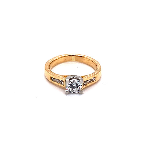 Diamond Engagement Ring with a Yellow Gold Shank and a White Gold Setting