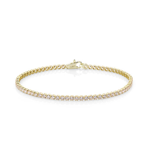 9CT YELLOW GOLD SINGLE ROW TENNIS BRACELET