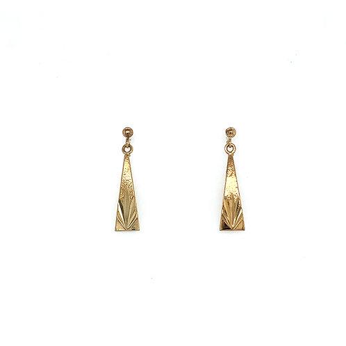 Triangular Yellow Gold Earrings