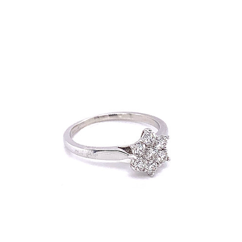 7 Stone Cluster Diamond (0.75ct) Ring in Platinum