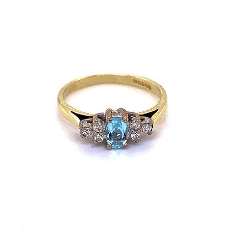 9ct Gold Aquamrine and Diamond Dress Ring