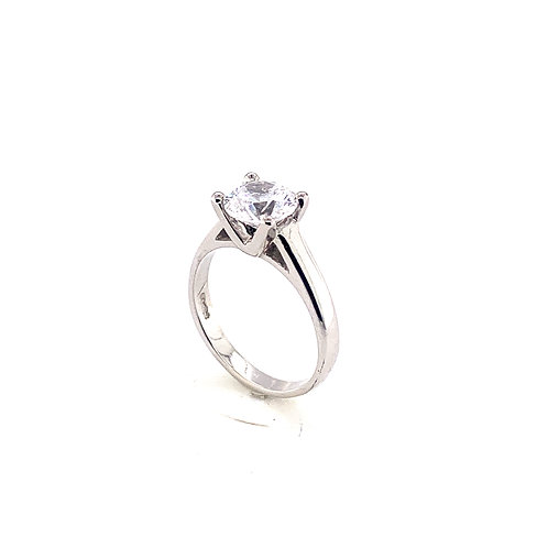 Round 4 Claw Diamond Solitaire Ring with V Design Setting in 9ct Gold