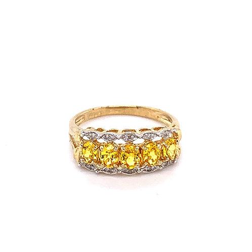 9ct Gold Yellow Sapphire and Diamond Ring