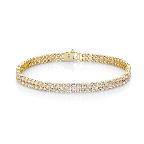 9ct Yellow Gold Double Row Tennis Bracelet