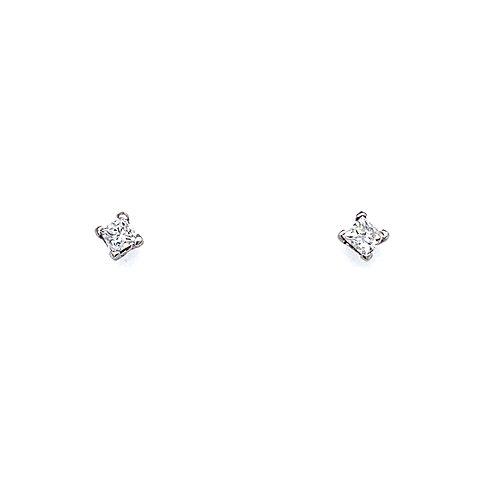 Princess Cut Diamond Stud Earrings in 9ct White Gold